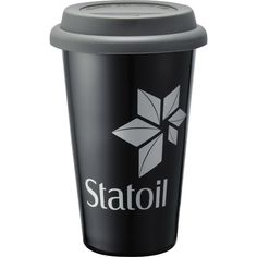 """Double-Wall Ceramic Tumbler 11 oz...Check out this 11 oz. ceramic tumbler with silicone lid. Customize with a company logo or personalized message for a personal touch. The perfect drink container to give to your employees or clients for their morning commute! Dual wall constructed, this will help keep your beverage at optimal temperatures. Perfect for the office, it will fit most corporate coffee machines. Dishwasher and microwave safe - remove silicone lid first. 6"""" H x 2.25"""" D."""