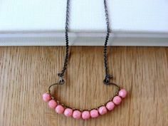 Czech coral pink.Oxidized silver. Necklace.