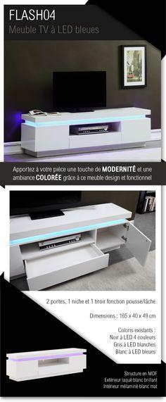 220e Meuble TV blanc brillant avec LED bleue - Dimensions : 165 x 40 x 49 cm - 2 portes et 1 tiroir.