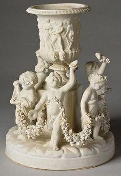 Sevres Porcelain; Parian, Figural Group, Urn, Dancing Cherubs with Garlands
