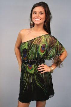 Nashota black, one-shoulder peacock dress.