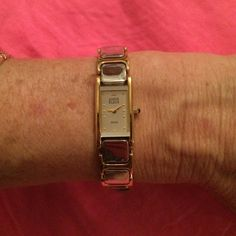 Anne Klein 2 tone silver/gold watch *SALE* Beautiful silver that is so beautiful it almost looks mirrored- with gold accents... Gorgeous  it has been sitting in the jewelry box unworn- it will need a battery Anne Klein Jewelry