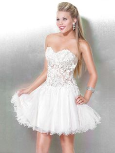 A-line White Sweetheart Open Back Mini Prom Dress With Embroidery