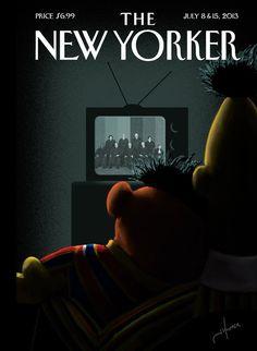 News on Bert and Ernie get the cover of next week's New Yorker. =)Bert and Ernie get the cover of next week's New Yorker. The New Yorker, New Yorker Covers, Capas New Yorker, Jack Hunter, Image Republic, Bert & Ernie, Magazin Design, Joy Art, Digital Revolution