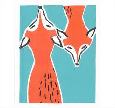Friendly Foxes by Print Mafia