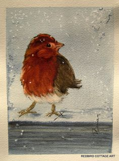 First Snow is a 5 x 7 inch original #watercolor painting of a #bird in the #snow by RedbirdCottageArt