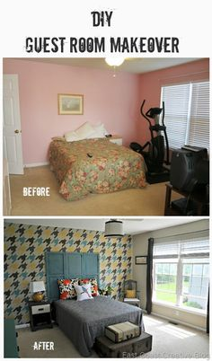 Awesome room makeover from East Coast Creative Blog.  Houndstooth stencil, shutter headboard, DIYs galore!