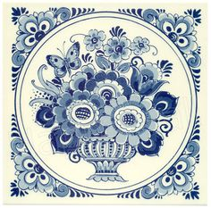 Flower with Butterfly, Dutch Delft Tile 6