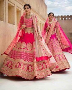 Pretty Pink Bridal Lehenga ! #pink #bridal #indian #lehenga #designer #indianweddings #indianbride #2018 #modern #trendy