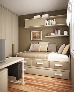 Bedroom, Clever Floating Bookshelves Over Twin Bed And Laminate Floor In Chic Small Bedroom Design Ideas ~ Making Great Wish from Small Bedroom Design Ideas