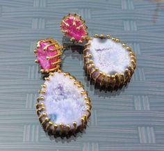 For sale ~ Druzy Purple & Pink Gold Tone Earrings