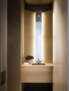 | P | slim mirror with back lighting - bathroom or great cloak room idea (powder room)