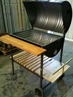 Garage Furniture, Barrel Furniture, Diy Furniture, Diy Grill, Barbecue Grill, Grilling, Oil Barrel, Metal Barrel, Barbecue Design