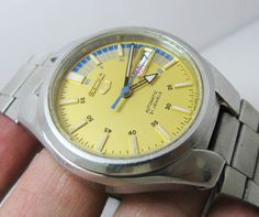 Vintage Seiko 5 Yellow Dial Arrow Hands Automatic 7S26 Japan Gents | eBay