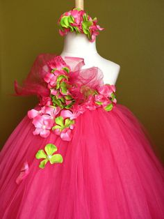 Fuschia Tutu Dress Matching Headband.flower girl party photo special occasions #fitnesshahababy #DressyEverydayHolidayPageantWedding