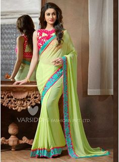 Parrit green saree with designer heavy blouse  www.angelnx.com