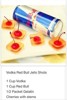 Vodka Red Bull Jell-O shots .. Mmmm gotta try this  # tipsy Bartender