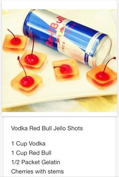 Vodka Red Bull Jell-O shots .. Mmmm gotta try this  # tipsy Bartender