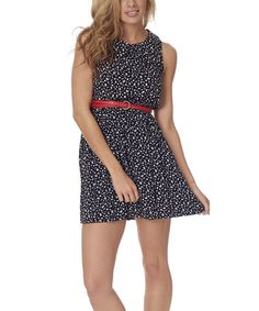 Look what I found on #zulily! Navy Blue Belted Sleeveless Dress by Pinkblush #zulilyfinds