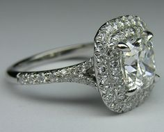 Cushion Diamond Double Halo Engagement Ring