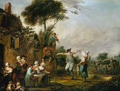 """""""Hochzeit auf dem Lande"""" von Jean-Antoine Watteau (geboren am 10. Oktober 1684 in Valenciennes, gestorben am 18. Juli 1721 in Nogent-sur-Marne), Maler des französischen Rokoko."""