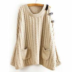49,90EUR Pullover mit Schnallen beige Fledermausärmeln