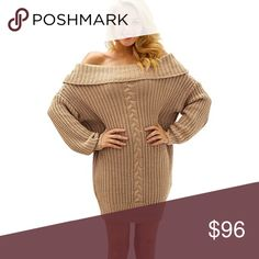 Chunky Knit Off Shoulder Sweater Dress ❌ Sorry, no trades.   568989  loose fit waffle cable knit sweater  fairlygirly fairlygirly Sweaters Crew & Scoop Necks