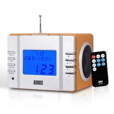 August MB300 - Clock Radio with MP3 Alarm - Portable Stereo System - Alarm clock - Aux Input / Card Reader / USB In / 2x3W Speakers / Internal Rechargeable Battery