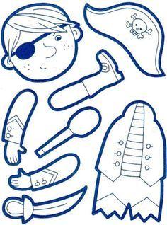 pantin pirate à fabriquer. Un pantin sirène est également à imprimer sur le site.