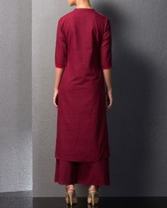 Ox Blood Kurta Palazzo Set with Embroidery