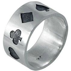 Edge Only - Poker Ring Oxidised Silver