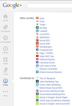 Your About Tab on Google+ Profile is where you want to link ALL of your top performing social profiles to your Google+ account like this. #GooglePlus #socialmedia #profiles #jnferree