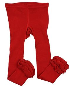 Solid Red Triple Ruffle Footless Tights