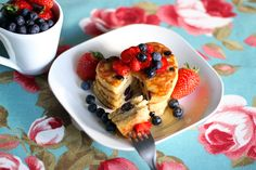 Pancakes Recipe #blueberry #heart