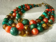 Vintage Three Strand Necklace  Blown Glass Look by vintageer, $24.50