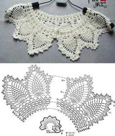 31 Ideas For Crochet Shawl Pattern Basic - Diy Crafts Crochet Collar Pattern, Col Crochet, Crochet Lace Collar, Crochet Lace Edging, Crochet Motifs, Crochet Diagram, Filet Crochet, Irish Crochet, Crochet Shawl