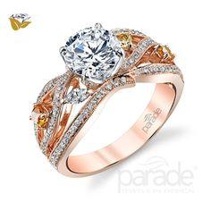 Parade Design 1/2 Ctw Diamond Semi-Mount Ring in 18K Rose