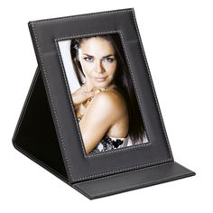 Foldable Frame Description Black Leatherette White Contrast Stitching Holds x Photo Folding Design For Easy Mailing Gadget Gifts, Corporate Gifts, Stitching, Contrast, Frames, Easy, Design, Black, Costura