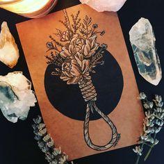 Inktober Day 4: Hangman's Gift Tags: #inktober #inktober2017 #13daysofhalloween #vintage #dark #rope #noose #hangman #flowers #bouquet #death #autumn #crystals #herbs #spooky #flatlay #halloween #tattoo #ink #drawing #sketch #art #artist #instaart #artistsoninstagram #jadejonesart
