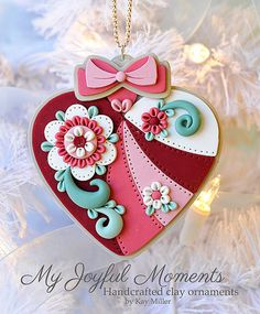 Handcrafted Polymer Clay Ornament by Kay Miller on Etsy...cuore