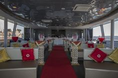 A pop of colour on the Saloon Deck for this exotic wedding ceremony on MV EPICURE I