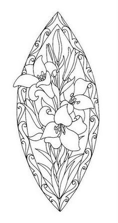 Coloring for adults - Kleuren voor volwassenen. Or stained glass design Flower Coloring Pages, Coloring Book Pages, Coloring Sheets, Mandala Coloring, Stained Glass Patterns, Printable Coloring, Free Coloring, Colorful Pictures, Line Art