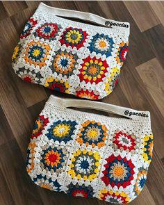Bolsas de crochê – Knitting patterns, knitting designs, knitting for beginners. Crochet Wallet, Crochet Tote, Crochet Handbags, Love Crochet, Crochet Gifts, Crochet Stitches, Knit Crochet, Crochet Shell Stitch, Crochet Designs