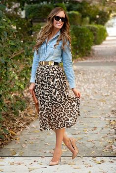 Spring Style - Leopard Skirt and Chambray - Leopard Skirt Chambray Shirt J.Crew Sheinside Kate Spade patent heels celine sunglasses original go - Printed Skirt Outfit, Leopard Skirt Outfit, Leopard Outfits, Animal Print Outfits, Leopard Print Skirt, Animal Print Skirt, Printed Skirts, Chambray Outfit, Leopard Shirt