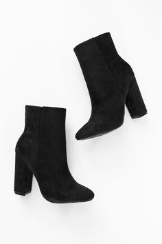 "Black faux suede high ankle booties with side zipper and 4"" heel. Lightly padded insole. Slightly pointed toe. This style runs small, be sure to order a half size up. - All man made material - Importe High Heel Boots, Heeled Boots, Black High Heels, Ankle Booties, Women's, High Heeled Boots, High Heeled Boots, Heel Boots, Boots"