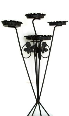 Mid Century Plant Stand, Black Metal and Wire with Ruffled Edges, Cutout Leaves, Shabby Chic, Very 50's Summer Patio Decor, Wrought Iron