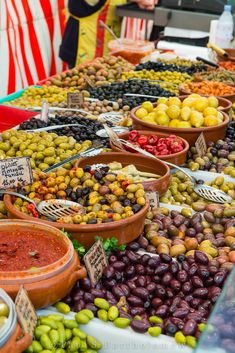 Olives at a Paris Market. There are food markets all over Paris. For some info, try this site: http://frenchmarketmaven.blogspot.com/2011/08/marches-of-paris-by-days-of-week-short.html