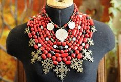 Traditional Ukrainian coral bead necklace (korali) with zgards (forged cross-shaped pendants)