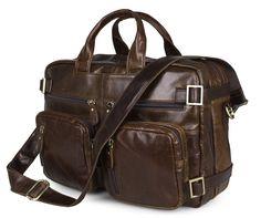 """Multi-function Leather 15.6"""" Laptop Briefcase/ Backpack Shoulder Tote Handbag Messenger Bag for Men, Brown"""