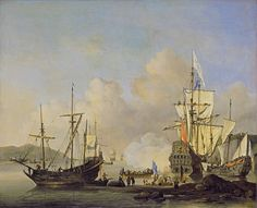 French Merchant Ships at Anchor, c. 1670, Willem II van de Velde